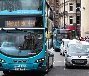 Bus in Leeds square